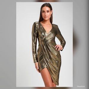 NWT S Lulu's Ryse gold metallic dress NYE